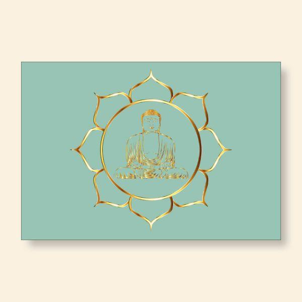 Bedrucktes Grußkarten- Set  Buddha Gold Geist und Geschenk