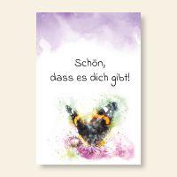 Bedruckte Postkarte Aquarell Spruch Schmetterling Geist und Geschenk