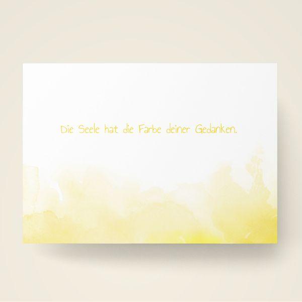 Grusskarten Set Farbwolken Gelb 'Die Seele hat die Farbe deiner Gedanken'