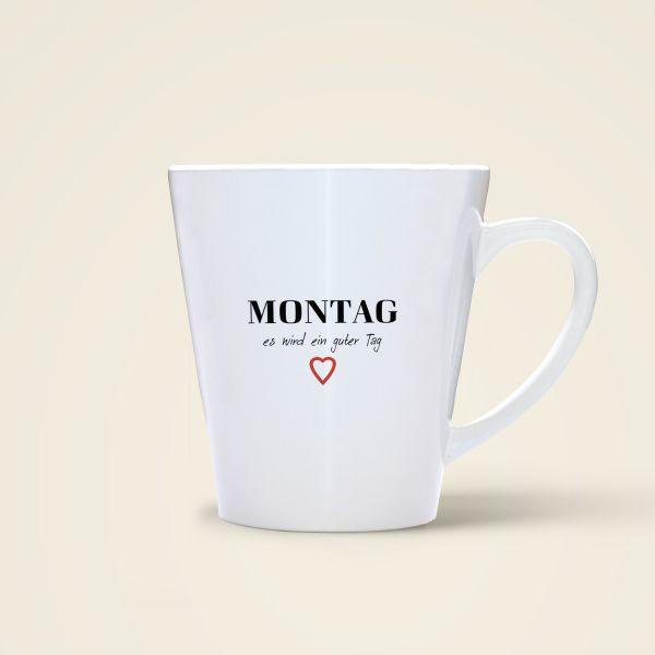 Becher bedruckt Wochentag Montag Spruch Monika Minder