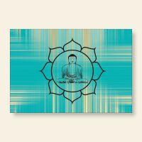 Bedrucktes Grußkarten- Set  Buddha Gold Blue Geist und Geschenk
