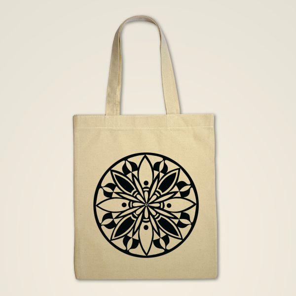 Mandala Stofftasche  Natur bedruckt schwarz