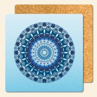 Bedruckte Korkuntersetzer Mandala Blue  Geist und Geschenk eckige Form