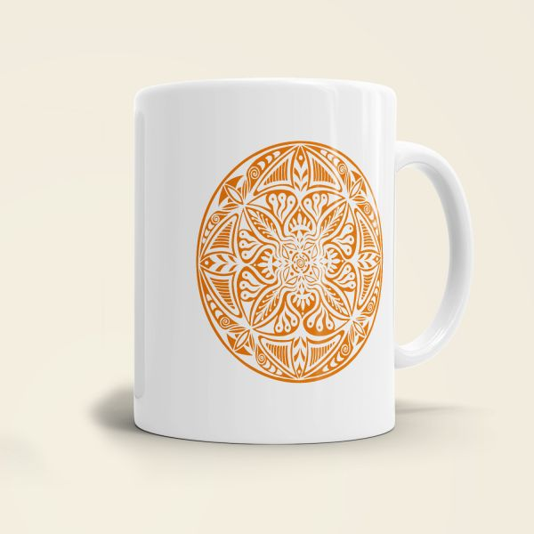 Mandala Shamanic Motiv bedruckte Tasse klassisch gelb