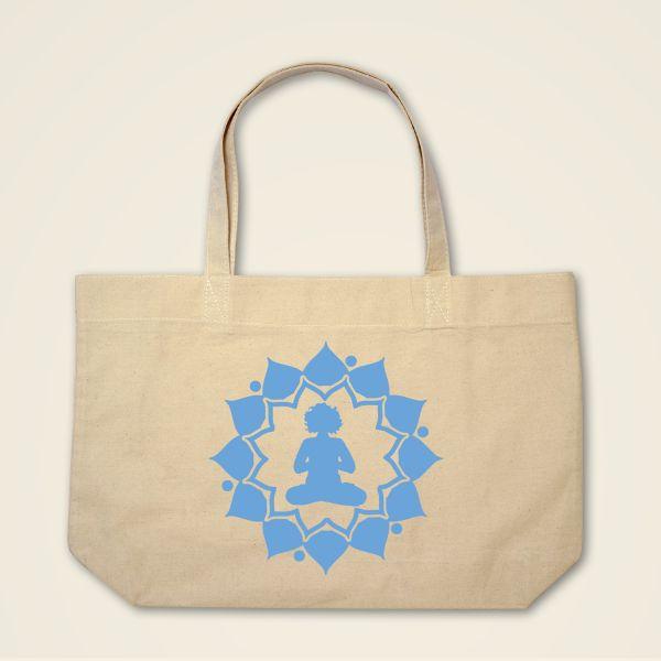 Boatshape Stofftasche Stoffbeutel Natur Yogini Motiv bedruckt Blau