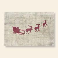 Bedruckte Grußkarten Weihnachten Rudolph Rentiere Schlitten Geist und Geschenk