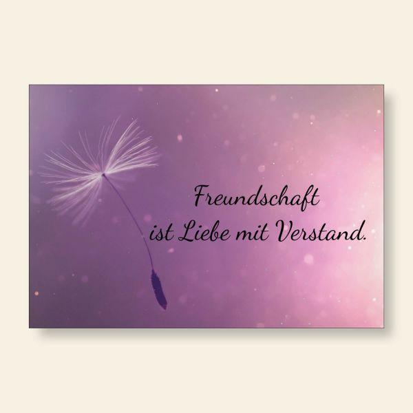 Bedruckte Postkarte Freundschaft Liebe Pusteblume Geist und Geschenk
