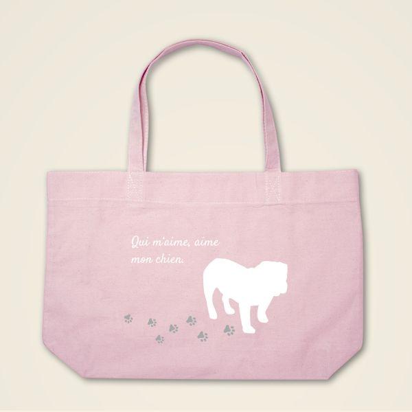 Stofftasche Stoffbeutel Boatshape bedruckt Hund Spruch rosa weisser aufdruck