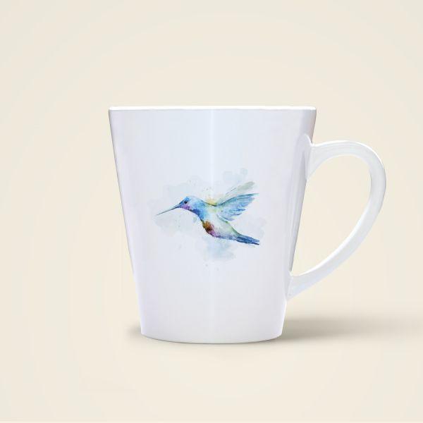 Tasse Aquarell Vogel bedruckt Spruch Geist und Geschenk