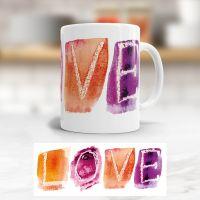Tasse bedruckt   'LOVE', Geist und Geschenk, klassische Form