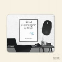 Bedrucktes Mousepad Zitat Ralph Waldo Emerson Gedanken Glaube Geist und Geschenk eckige Form