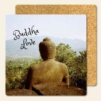 Bedruckte Korkuntersetzer Buddha Geist und Geschenk eckige Form