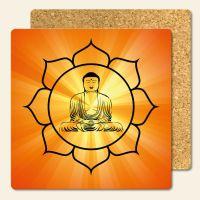 Bedruckte Korkuntersetzer Buddha Lightd  Geist und Geschenk eckige Form