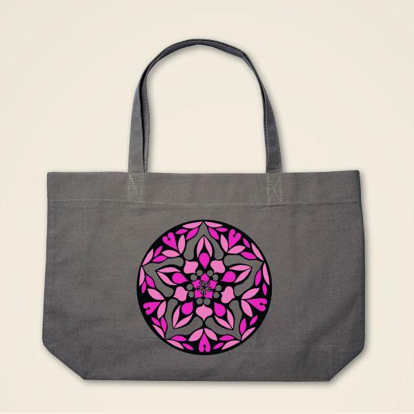 0c41a440c0169 Hochwertige graue Stofftasche mit einzigartigem Mandala-Motiv bedruckt