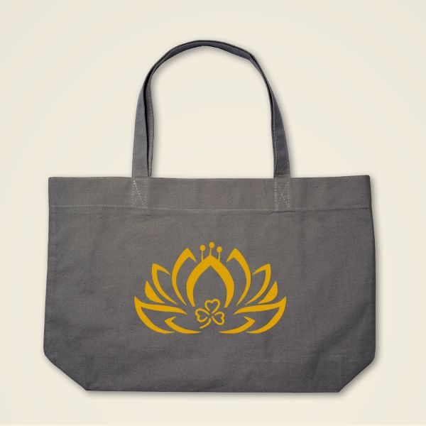 Geist und Geschenk Dreiblatt Lotus Stofftasche Grau gelb