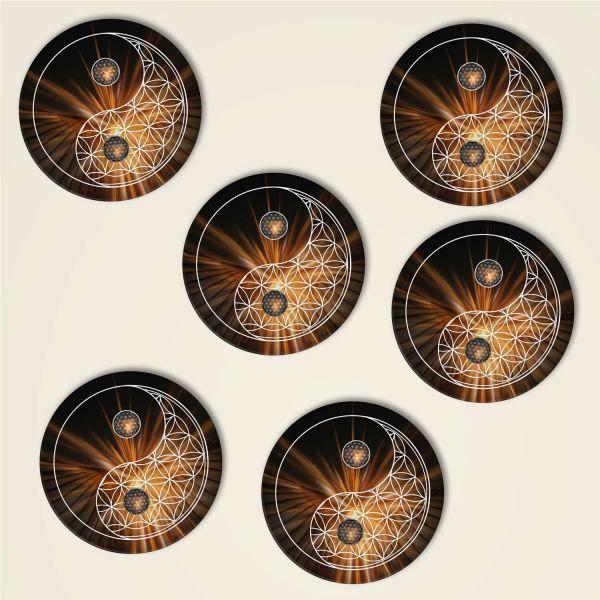 Blume des Lebens Untersetzer Yin Yang Geist und Geschenk online bestellen 6er Set