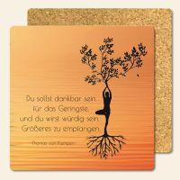 Bedruckte Korkuntersetzer Yoga Zitat Dankbarkeit Geist und Geschenk eckige Form