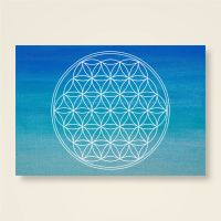 Postkarte Grußkarte Blume des Lebens Flower of Life Vishuddha Geist und Geschenk Weiß