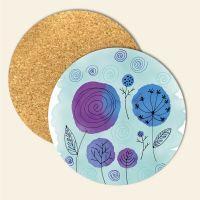 Bedruckte Korkuntersetzer Aquarell- Blumen, Geist und Geschenk, runde Form