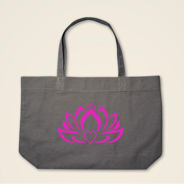 Herzlotus Stofftasche Stoffebeutel bedruckt Grau Pink