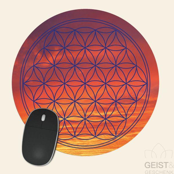 Mousepad-Blume-des-Lebens-Motiv-Abendhimmel-bedruckt-1