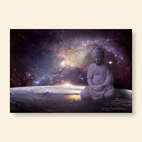 Bedrucktes Grußkarten- Set  Buddha Galaxy Geist und Geschenk