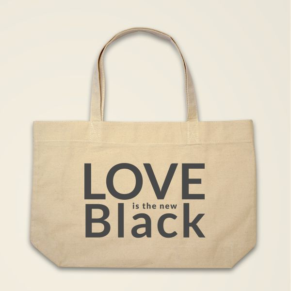 Boatshape Love is the new Black stofftasche spruch bedruckt natur