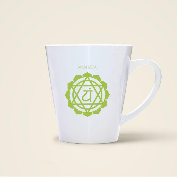 Tasse bedruckt Chakren Motiv Anahata grün Geist und Geschenk