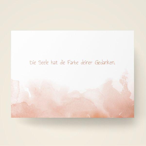 Grusskarten Set Rote Farbwolken 'Die Seele hat die Farbe deiner Gedanken'