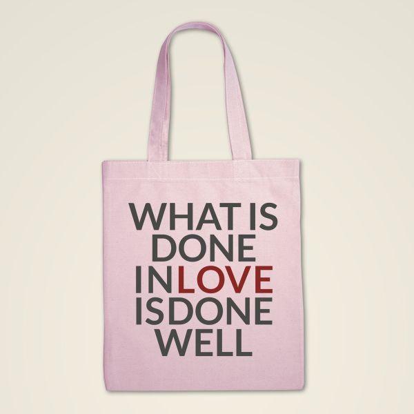 Stoffbeutel Stofftasche bedruckt Spruch Love rosa