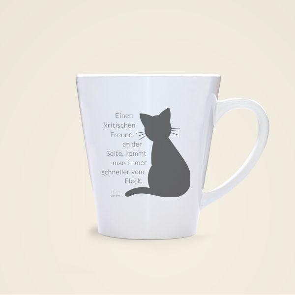 Bedruckte Tasse mit Zitat von Goethe Freund Geist und Geschenk