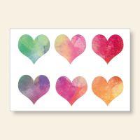 Bedrucktes Grußkarten- Set Aquarell Herzen Geist und Geschenk