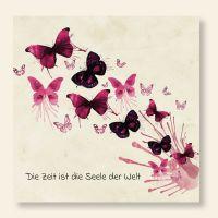 Bedruckte Postkarte Zitat Schmetterling Aquarell Geist und Geschenk quadratische Form