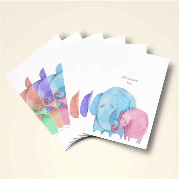 "Grusskarten Set ""Elefanten - Choose always love"" alle Motive"